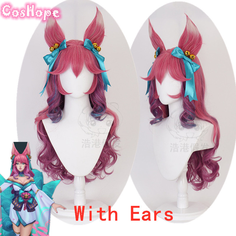 Ahri Cosplay Spirit Blossom Cosplay LOL Cosplay Curly Wave Pink Purple Wig Cosplay Anime Heat Resistant Synthetic Wigs Halloween