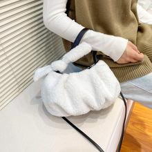 Зимний стиль белый пушистый клатч женская сумка маленький однотонный
