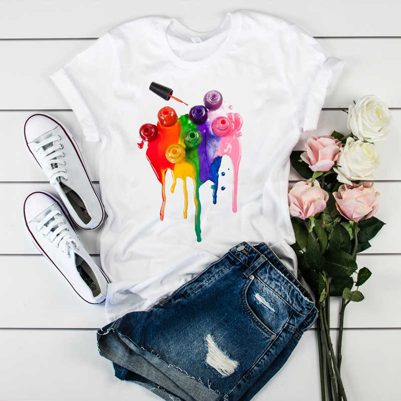Women Fashion Watercolor 3D Casual Short Sleeve Tees Tops 90s Graphic Female Ladies Womens Lady T-Shirt T Shirt T-shirts