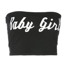 Sexy Letter Print Tube Top 2019 Summer Black Bandeau Cropped Cotton Boob Tube Streetwear Strapless Wrap Crop Top Bras