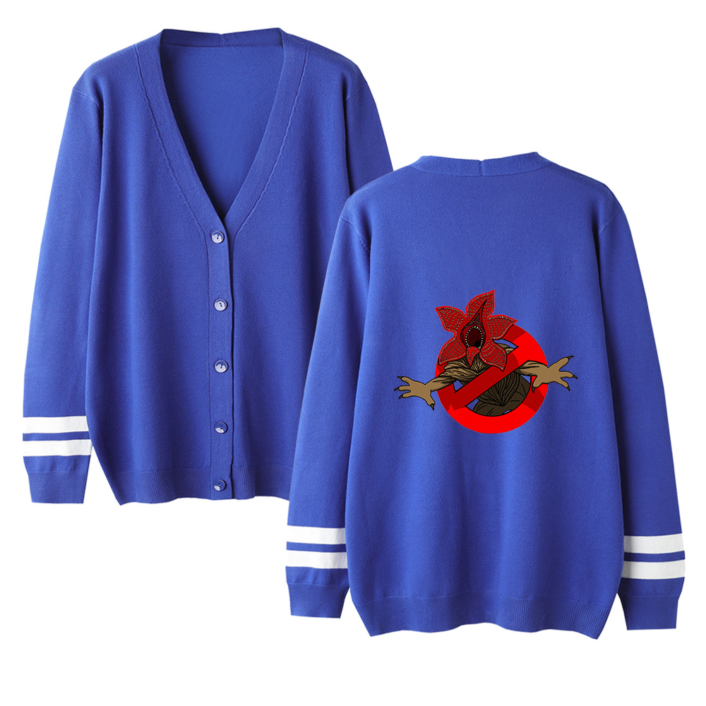 Stranger Things V-neck Cardigan Sweater Men/women New Fashion Casual Sweater Stranger Things Cardigan Sweater Blue Casual Tops