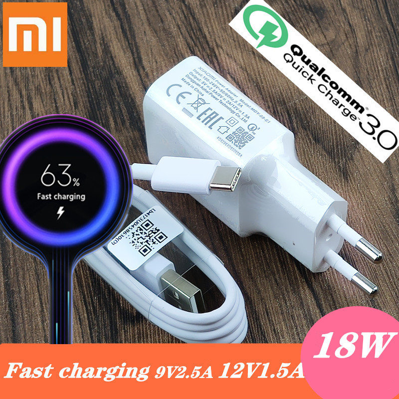 Xiaomi Fast charger 18w QC 3.0 Redmi note 7 charger adapter Type C or Micro cable For xiaomi mi A3 8 se mi 9 max 3 2 mix 2 MI 6