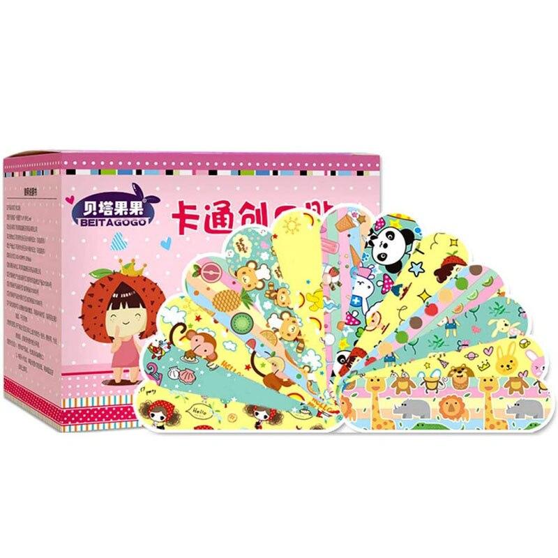 100Pcs Wasserdicht Atmungsaktiv Nette Cartoon Pflaster Hämostase Klebstoff Bandagen Erste Hilfe Notfall Kit Wundpflaster Für Kinder