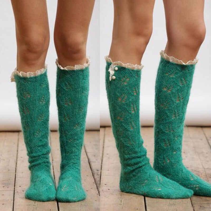 Yeni çocuk kız kadın kış diz üstü çorap çizme dantel düğme yüksek uyluk tayt uzun örme çorap