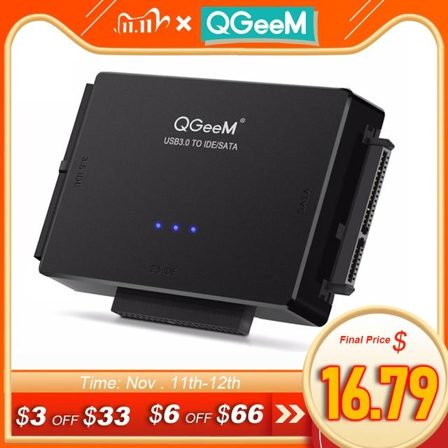 QGeeM SATA na USB 3.0 Adapter IDE USB2.0 kabel Sata na 2.5 3.5 SATA IDE napęd dysku twardego Adapter USB C OTG HDD SSD konwerter USB