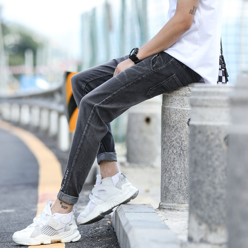 2019 Summer MEN'S Jeans Trend Korean-style Elasticity Skinny 9 Pants Students Tide Solid Color Capri Jeans