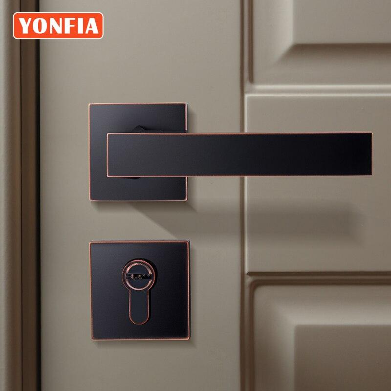 YONFIA 8034 Square Privacy ORB Hot Sale Black Door Handle for Interior Door Hardware Mortise Lever Door Handle for Home Door