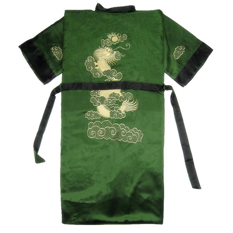 Бордовый черный Для мужчин новинка Дракон Повседневное высокое качество одежда с вышивкой свободное кимоно халат мягкие пижамы пеньюар - Цвет: Green