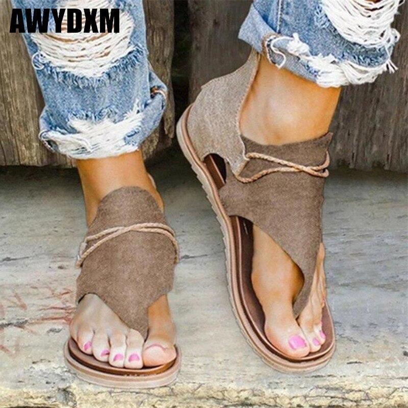 Leopard Print Sandals Women Summer Clip Toe Vintage Shoes Ladies Flat Casual Comfort Beach Sandlas Zipper Female Plus Size 35-43