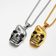 Fashion Skeleton Head Chain Necklaces For Men Punk Stainless Steel Skull Pendant Statement Jewelry