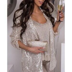 Женская одежда, комплект из двух предметов, блестящий сексуальный жилет + пальто, женская майка с блестками, топ и куртка, элегантные женские...