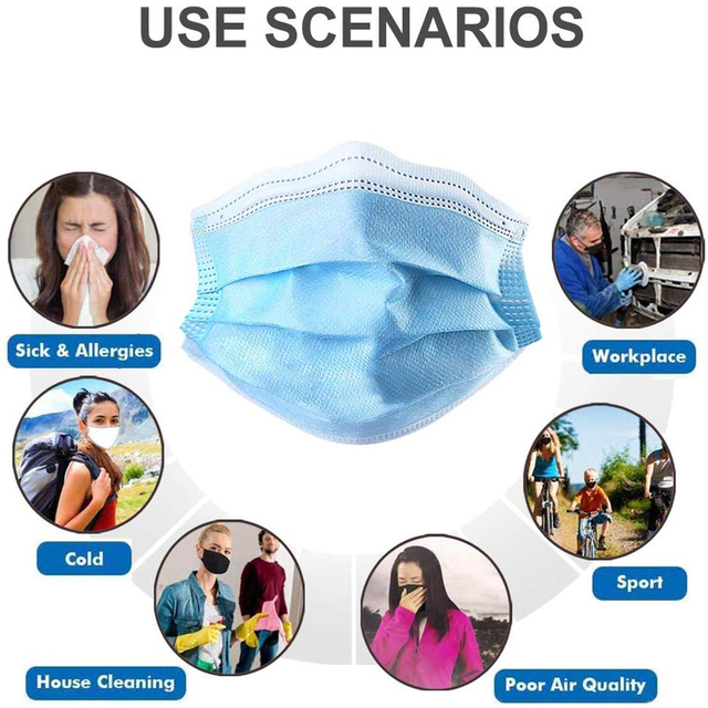 Disposable Mouth Masks Face Mask 3-Ply Filtration Anti Flu Dust PM2.5 Non-woven Mask Face Mouth Masks Breathable Earloops Mask 2