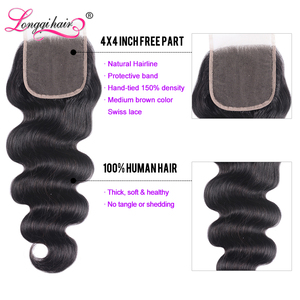 Image 3 - Long Lasting Body Wave Bundles With Closure Brazilian Hair Weave Bundles With Closure Remy Hair Closure with Bundles Longqi Hair