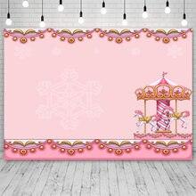 Avezano – arrière-plan rose carrousel pour fête prénatale, décor de fête d'anniversaire, pour Studio photo