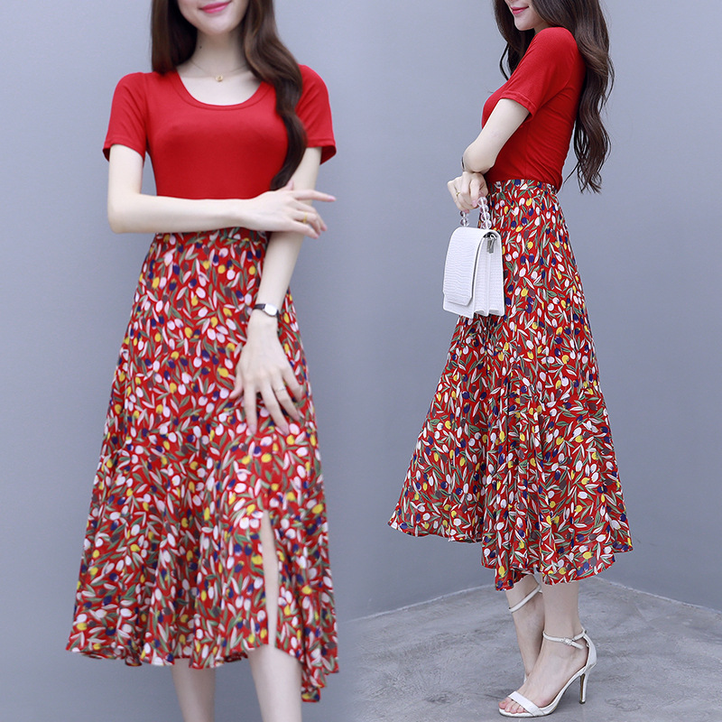 2019 Summer Wear New Style Popular Hot Selling Super Was Thin WOMEN'S Two-piece Suit Knitted Joint Small Floral Set