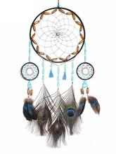 Ethnic Style Tassel Dream Catcher Crochet Pendant With Colorful Feather Kids Room Decoration Dreamcatcher