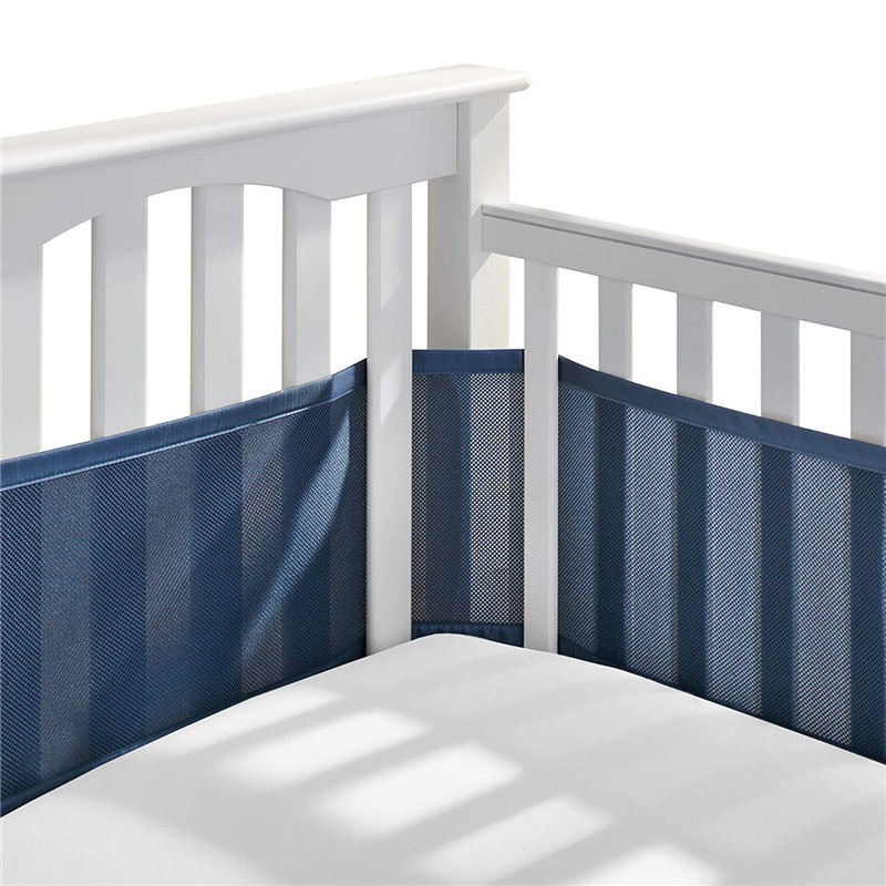 Baby Crib Bumper Breathable Mesh Crib Liner Anti-Collision Bed Bumper Solid-Back Crib Around Cushion Cot Protector Room Decor