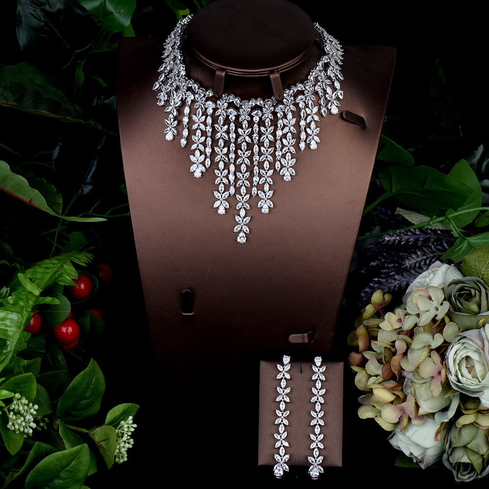 HIBRIDE Fashion AAA Cubic Zirconia 2pcs Necklace Earring Set Wedding Accessories Bride Jewelry Set collares de moda 2020 N-1293