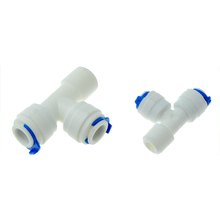 Wody RO szybkozłącze 3 Way Tee 1 4 #8222 3 8 #8221 OD złączka do węża 3 8 #8222 gwinty męskie BSP plastikowa rura sprzęgła złącza System odwróconej osmozy tanie tanio Mężczyzna Z tworzywa sztucznego Odlewania Równe PD Type T Shaped 1 4 3 8 OD Hose 1 4 BSP 3 8 BSP POM Plastic