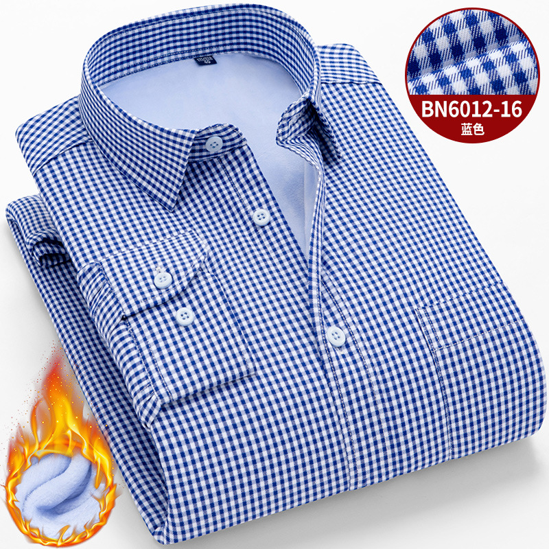 Men Shirt Long Sleeve Mens Dress Shirts Casual Slim Fit Warm Plus Velvet Padded Winter Thick