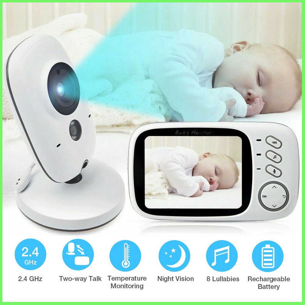 NEW VB603 3.2 inch LCD Baby Monitor Nanny Temperature Monitoring Lullaby 2 Way Audio IR Night Vision Security Temperature Camera