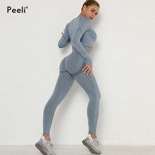 2 Pcs Yoga Set Nahtlose Frauen Sport Anzug Workout Sportswear Gym Set Langarm Crop Top Scrunch Butt Leggings Fitness kleidung