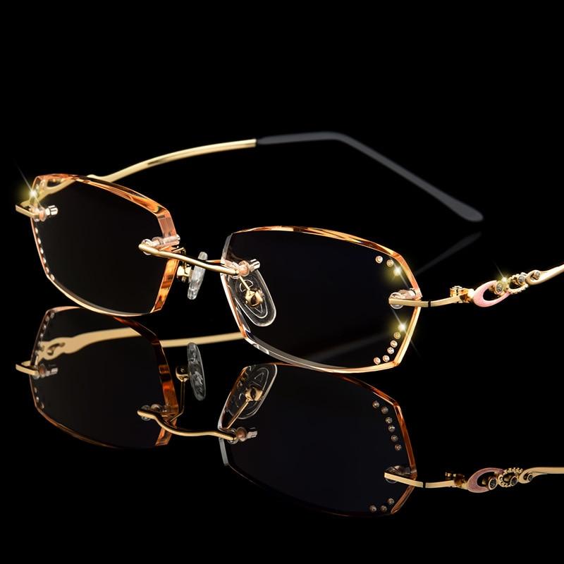 Женские очки для чтения с бриллиантами, без оправы, диоптрические очки, модные женские очки для чтения с затемненными коричневыми и серыми л...