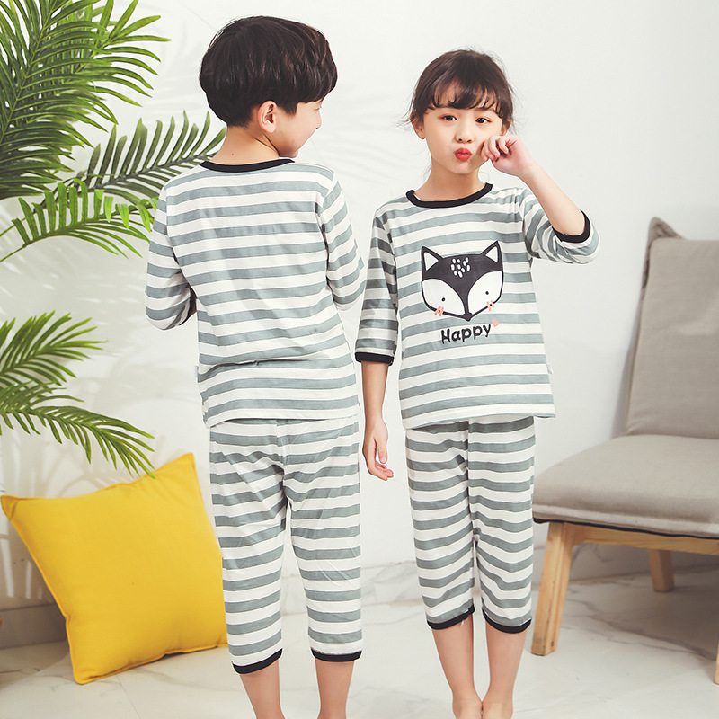 BB New Style Boys And Girls Summer Day Loose-Fit Home Wear Pure Cotton Children Air Conditioning Clothes Cartoon Cute Pattern Pa