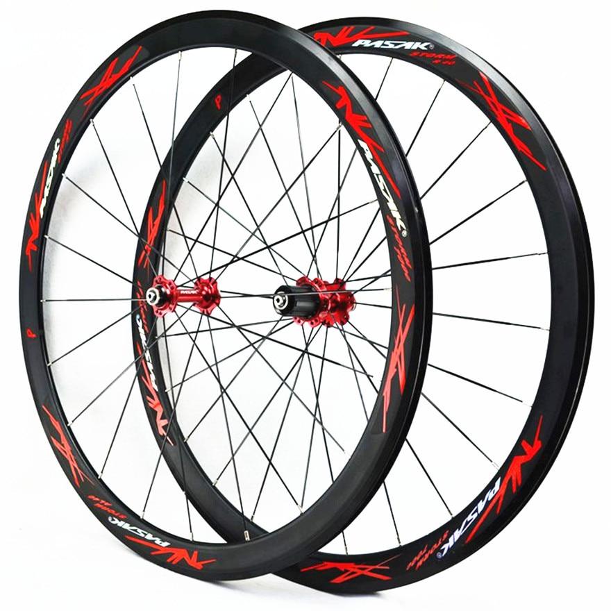Road Bike 40MM Flat Spokes Strip Ultralight Sealed Bearing 11 Speed C V Brake Wheel Set 700C Wheels Bicycle Wheel