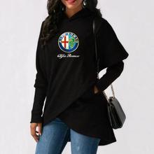 Women's Letter Pocket Hoodie Alpha alfa romeo Long Sleeve Fleece Jacket Autumn and Winter New