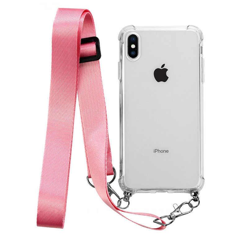 สายคล้องไหล่สายไฟ TPU เคสโทรศัพท์สำหรับ iPhone XR XS MAX X สร้อยคอถุงลมนิรภัยสำหรับ iPhone 11 pro Max 7 8 6 S plus
