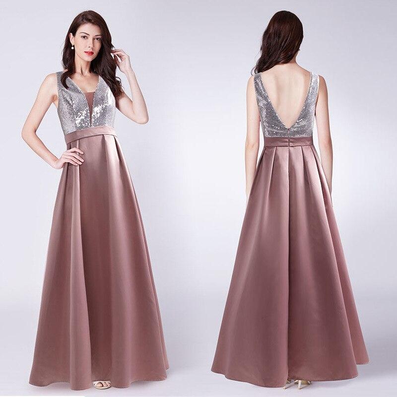 Formal Party Gowns Shiny Sequin V-Neck Evening Dresses R185 Sleeveless Tank Elegant Long Vestidos A-Line Women Robe De Soiree