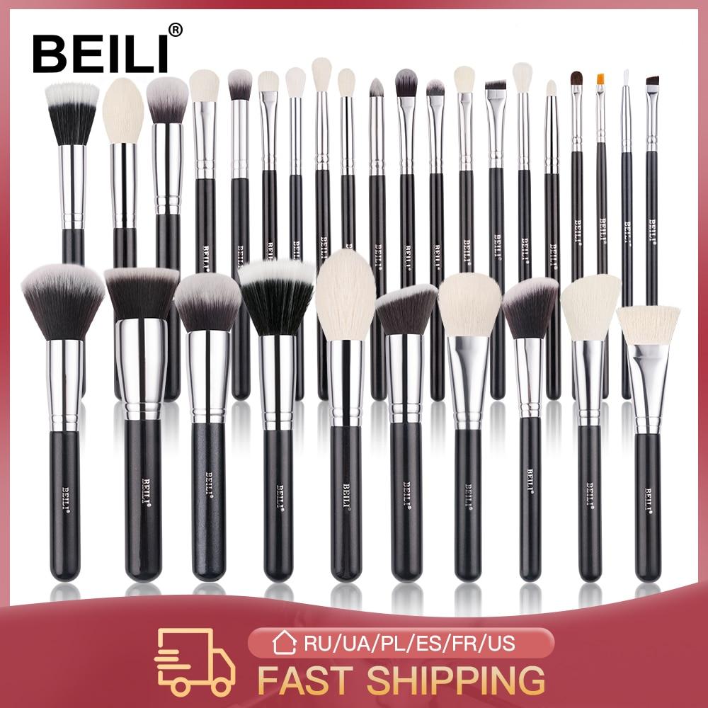 BEILI Black Makeup brushes set Professional Natural goat hair brushes Foundation Powder Contour Eyeshadow make up brushes