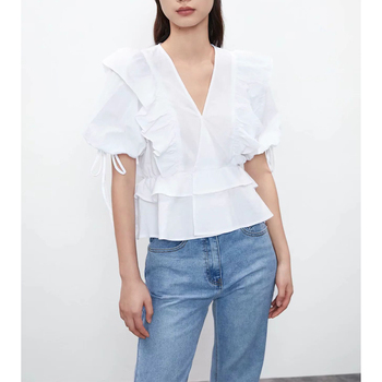 New Women Summer Blouse Shirt Elegant Tops Short puff Sleeves Casual Vintage V-neck Ruffled tops mujer blouse femme red round neck flared sleeves blouse