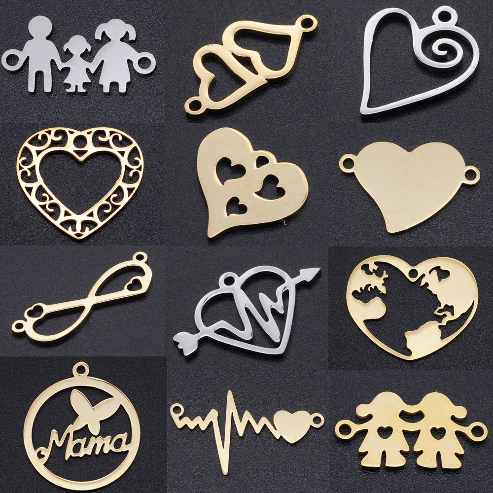 5pcs/lot Heart DIY Charms Wholesale 100% Stainless Steel Hearts Connectors Charm Family Jewelry Pendant
