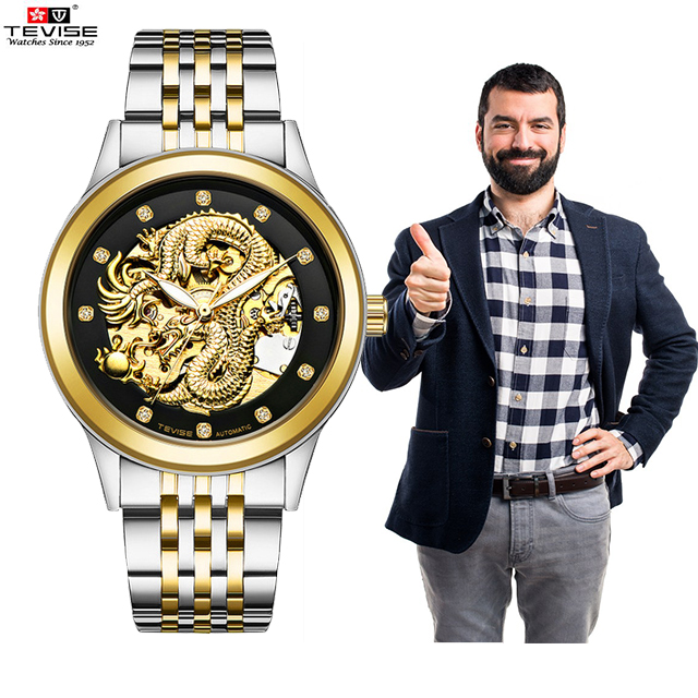 Switzerland TEVISE Top Brand Luxury Gold Dragon Automatic Mechanical Men Watches Waterproof Lumious Couple Wristwatch Masculino|Women's Watches| |  - title=