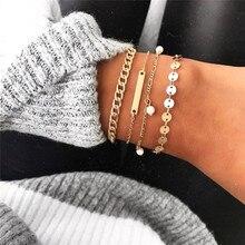 VAGZEB New 30 Styles Gold Color Chain Punk Bracelet Femme Vintage Bohemia Beads for Woman Valentines Gift