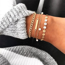 VAGZEB New 30 Styles Gold Color Chain Punk Bracelet Femme Vintage Bohemia Beads Bracelet for Woman Valentines Gift()