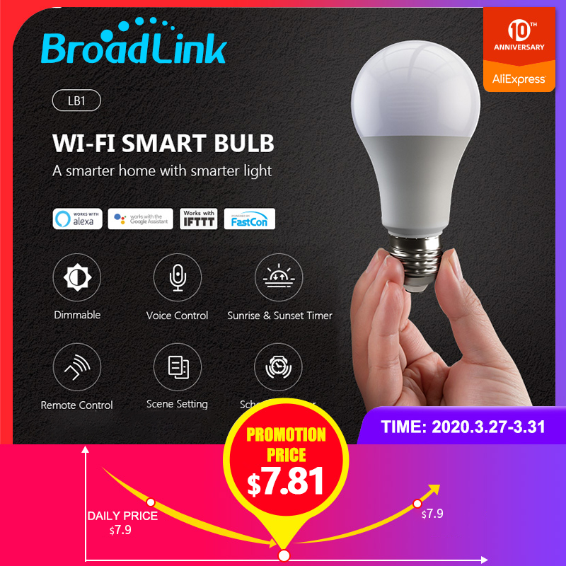 BroadLink BestCon 2020Newest LB1 Smart Wifi LED Bulb Lamp Dimmer Lamp Light Voice Control Compatible with Alexa and Google Home