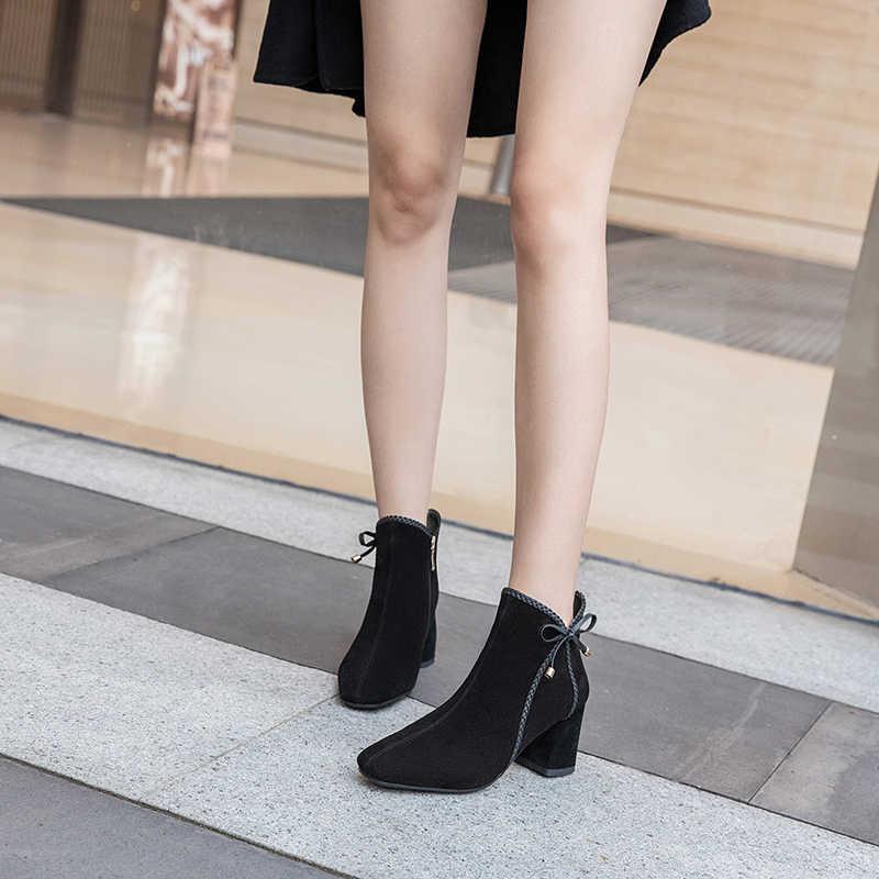 Botas de tobillo cálidas informales para mujer, zapatos de otoño e invierno, zapatos de tacón alto, Botas de moda para mujer, Botas k283