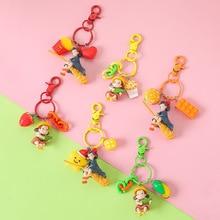 New Japanese Hayao Miyazaki Cute Anime Kiki's Delivery Service Key Chain Girl Kiki Figure Model PVC Doll Keyrings for Backpack недорого