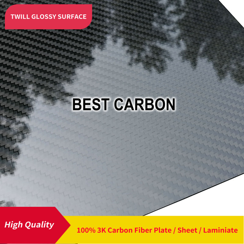 Free shipping 400mm x 500mm Twill Glossy surface 100 Carbon Fiber Plate cfk plate rigid plate