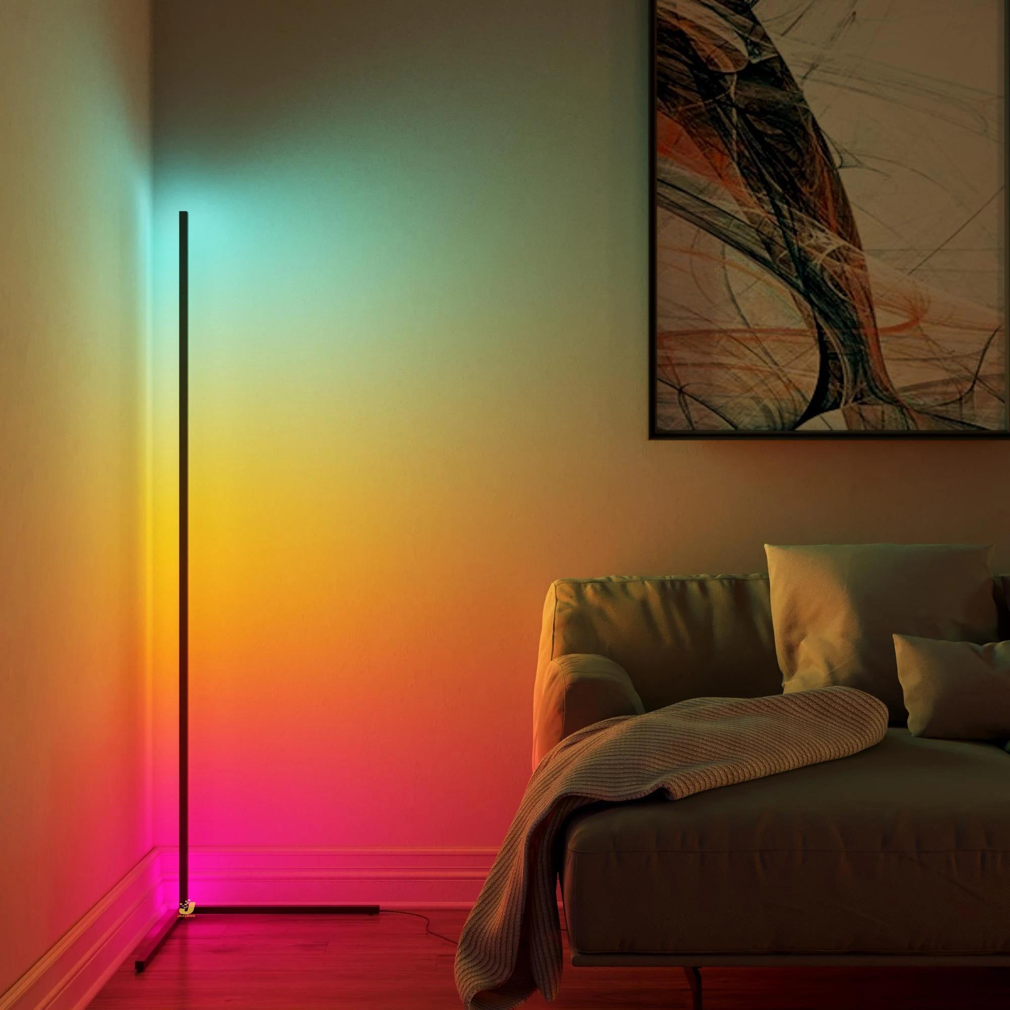 Nordic LED Corner Floor Lamp Bedroom Atmosphere Floor Light Bedroom Bedside Living Room Colorful Dimming Indoor Standing Light