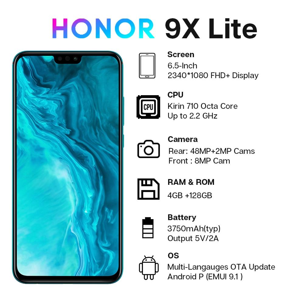Global Version Honor 9X Lite Smartphone 4G 128G 48MP Camera Kirin 710 6.5'' Mobile Phone Android P GPU Turbo 3.0 NFC 2