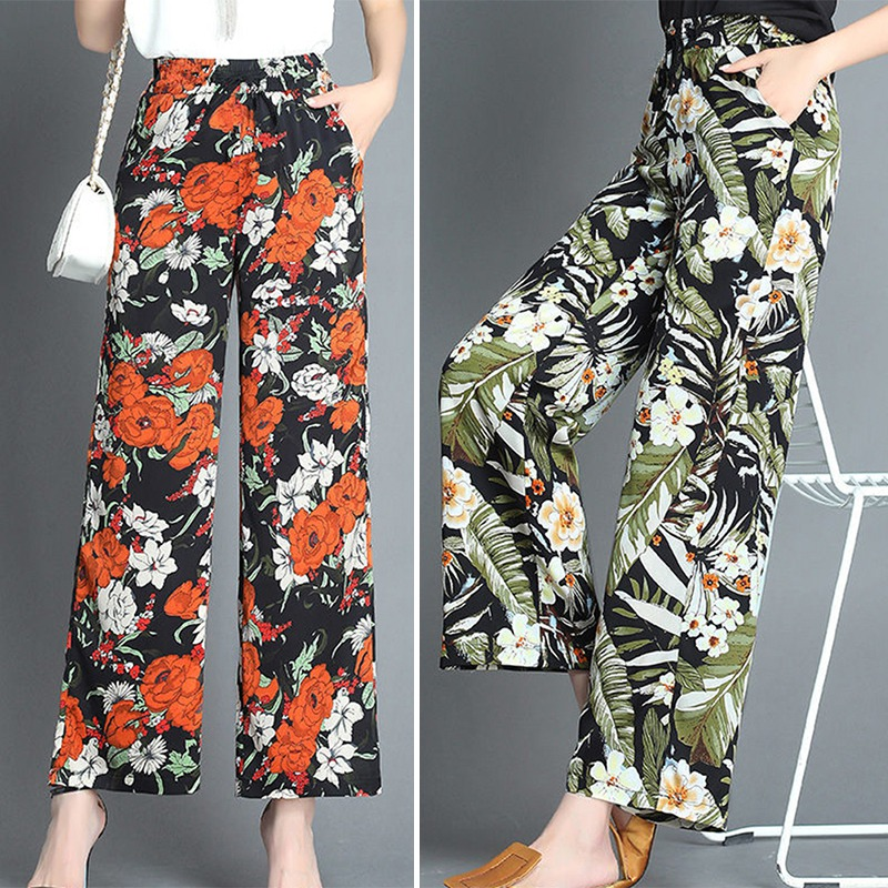 Women Fashion Casual Floral Print High Waist Loose Pants Female Ladies Wide Leg Flare Trousers
