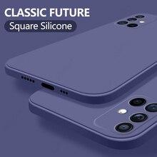 Luxury Orignal Square Edge Soft Liquid Silicone Case For Samsung Galaxy A51 A52 A71 A72 A32 A42 A50 A70 A21S A31 A41 Back Cover
