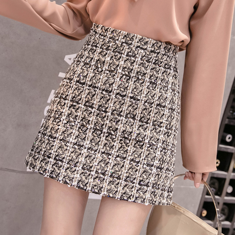 Plaid Tweed Skirt Autumn Winter Vintage Ladies High Waist A Line Mini Skirts Women Zipper Back Casual Short Skirt