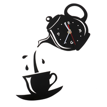 New Creative DIY Acrylic Coffee Cup Teapot 3D Wall Clock Decorative Kitchen Wall Clocks Living Room Dining Room Home Decor Clock 14 inch creative transparent suspension wall clocks nordic simple quartz clock home living room wall decor