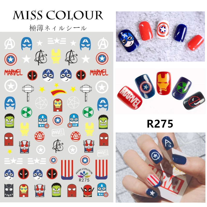Net Red With Marvel Nail Art Avengers 4 Nail Decals Nail Sticker American Captain Nail Art Designs