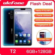 """Ulefone T2 الهاتف الذكي الروبوت 9.0 المزدوج 4G هاتف محمول 6GB 128GB NFC الثماني النواة هيليو P70 4200mAh 6.7 """"FHD + الهاتف المحمول الروبوت"""